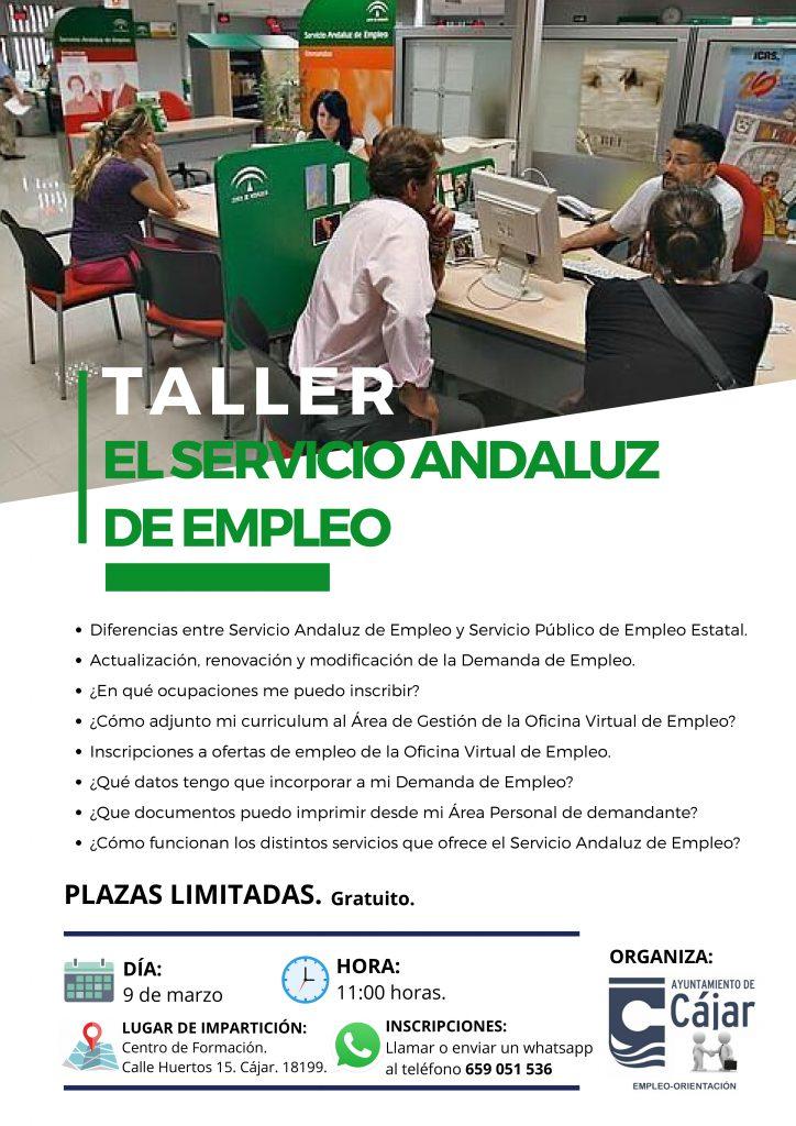 Cartel Taller servicio andaluz de Empleo