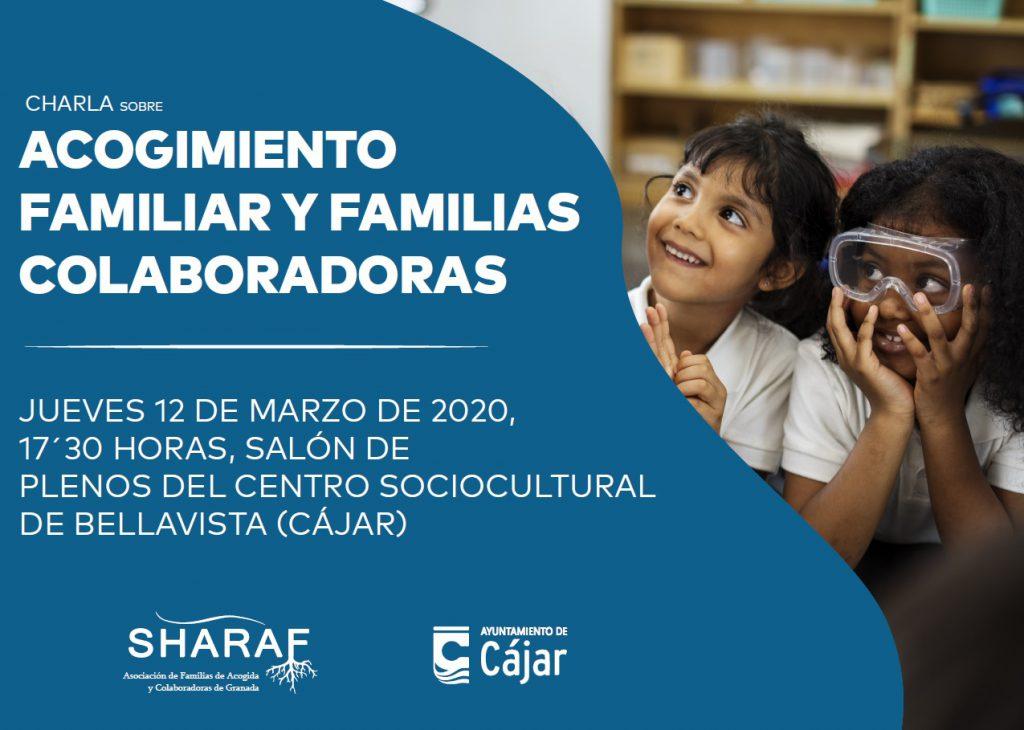 Cartel charla sobre acogida familiar y familias colaboradoras